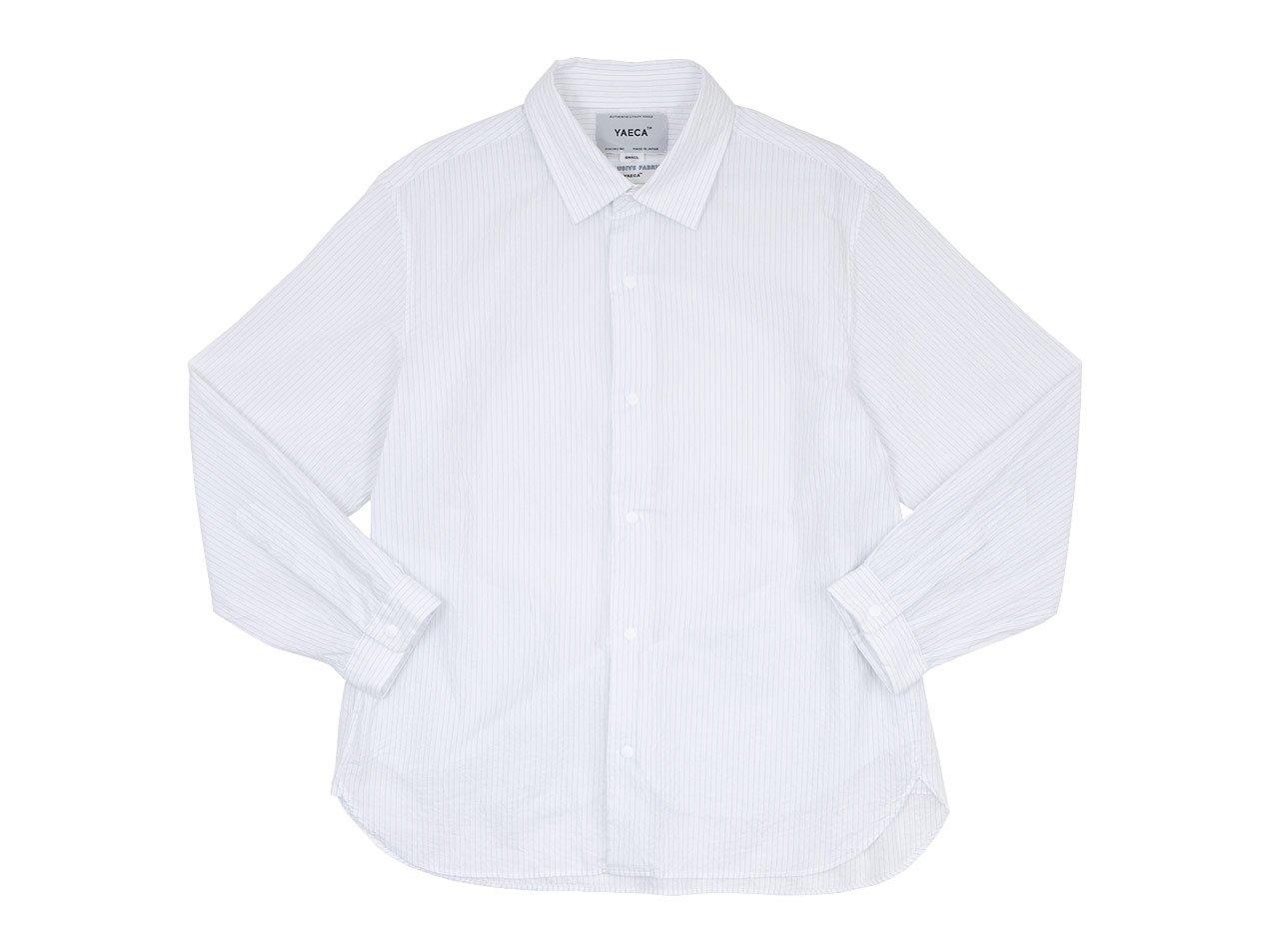 YAECA コンフォートシャツ ワイド BLUE STRIPE 〔レディース〕