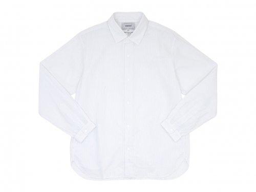 YAECA コンフォートシャツ リラックスロング BLUE STRIPE 〔メンズ〕
