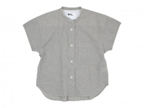 MHL. NATURAL WASHER COTTON LINEN S/S CHECK SHIRTS 11BLACK 〔レディース〕