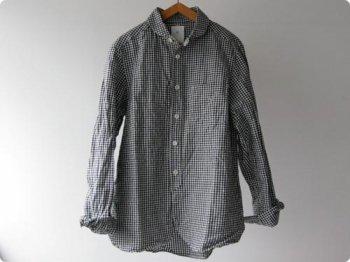 maillot Sunset round collor work gingam check shirts BLACK x WHITE