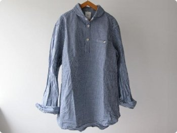 maillot Sunset round collor p/o work gingam check shirts BLUE x WHITE