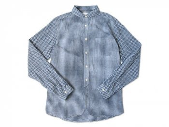 maillot Sunset round collar work gingham check shirts BLUE x WHITE