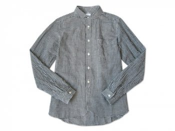 maillot Sunset round collar work gingham check shirts BLACK x WHITE