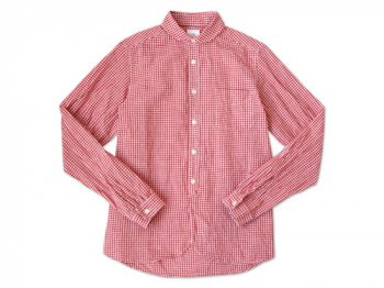 maillot Sunset round collar work gingham check shirts RED x WHITE