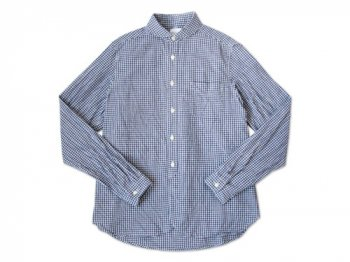 maillot Sunset round collar work gingham check shirts BLUE x PURPUL