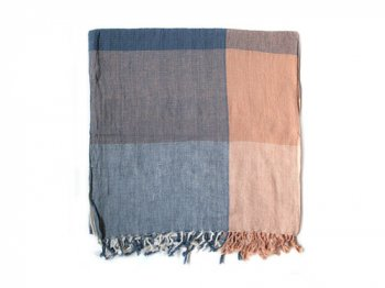 niki-toto KHADI TOWEL BLUE x BEIGE BIG CHECK