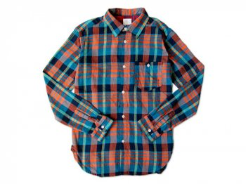 dip COTTON FLANNEL CHECK SHIRTS ORANGE