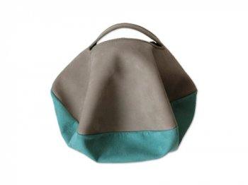カンダミサコ circle bag mini 2:LIGHT GRAY x TURQUOISE