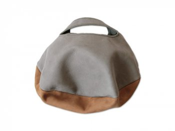 カンダミサコ circle bag mini 3:LIGHT GRAY x BROWN