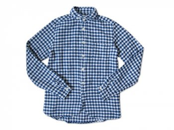 maillot Cotton flannel gingham round collar work shirts BLUE x OFF