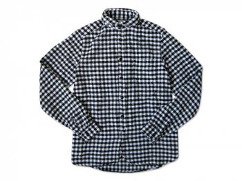 maillot Cotton flannel gingham round collar work shirts BLACK x OFF