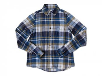 maillot Cotton flannel roll collar check B.D. shirts BLUE