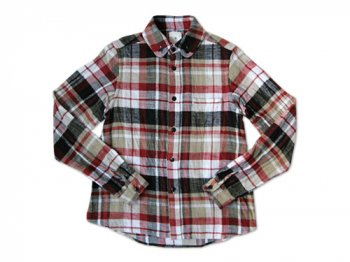 maillot Cotton flannel roll collar check B.D. shirts RED