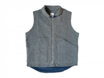 dip wool zip vest GRAY