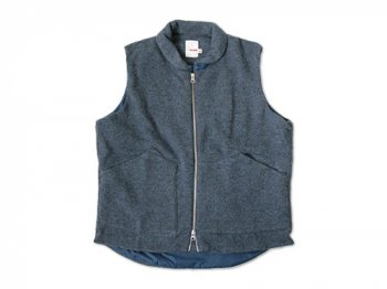 dip wool zip vest BLUE