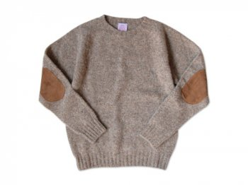 BRICK CREW NECK KNIT パッチ付き OATMEAL