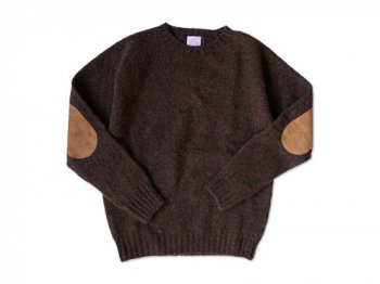 BRICK CREW NECK KNIT パッチ付き COFFEE