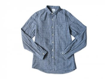 maillot sunset gingham small collar shirts BLUE x WHITE