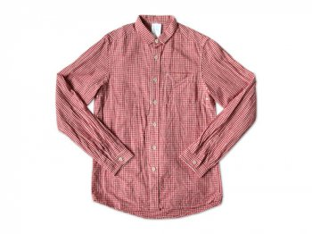 maillot sunset gingham small collar shirts RED x WHITE