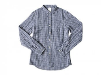 maillot sunset gingham small collar shirts BLUE x PURPUL
