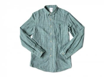 maillot sunset gingham small collar shirts GREEN x BLUE