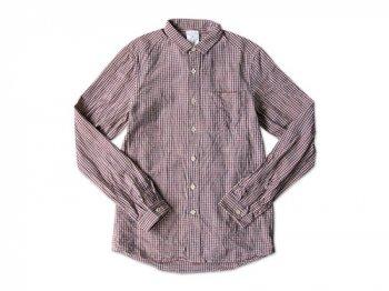 maillot sunset gingham small collar shirts ORANGE x BLUE