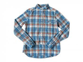 maillot madras round work shirts BLUE