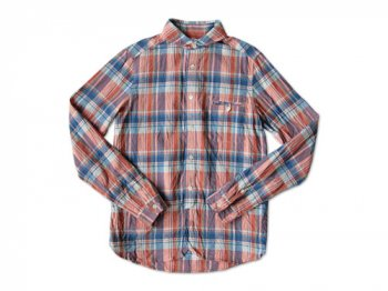 maillot madras round work shirts BLUE x ORANGE