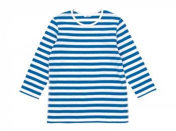 maillot ボーダー7分袖Tシャツ SAX