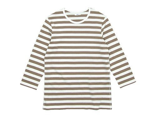maillot ボーダー7分袖Tシャツ CAFE