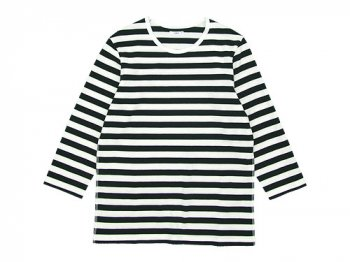 maillot ボーダー7分袖Tシャツ BLACK