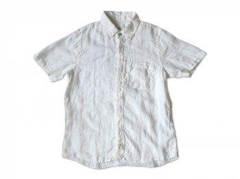 RINEN 40/1リネン平織 比翼レギュラーカラー半袖シャツ 01WHITE 〔メンズ〕