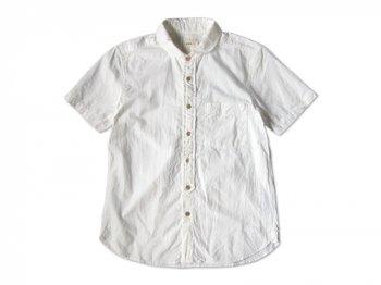 RINEN 40/1引き揃えオーガニックオックス ラウンドカラー半袖シャツ〔メンズ〕