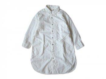 RINEN 80/1ローン接結 レギュラーカラー七分袖ロングシャツ 01WHITE 〔レディース〕