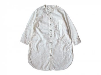 RINEN 80/1ローン接結 スタンドカラー七分袖ロングシャツ 01WHITE 〔レディース〕