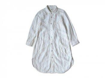 RINEN 60/1リネンシャンブレー レギュラーカラー七分袖ロングシャツ 01WHITE 〔レディース〕