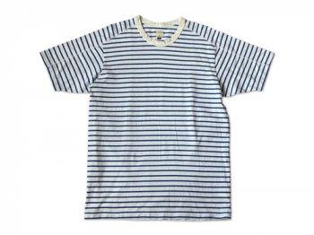 TATAMIZE CREW NECK T-SHIRT WHITE x BLUE