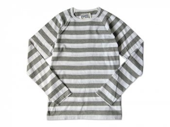 Charpentier de Vaisseau WIDE STRIPES LONG SLEEVES CUTSEW GRAY x WHITE