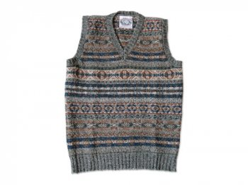Jamieson's V NECK VEST GRAY x BROWN