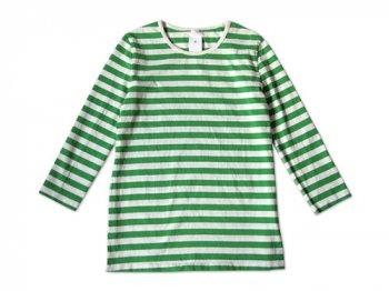 maillot ボーダー7分袖Tシャツ GREEN