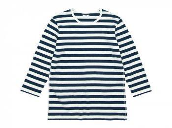 maillot ボーダー7分袖Tシャツ NAVY