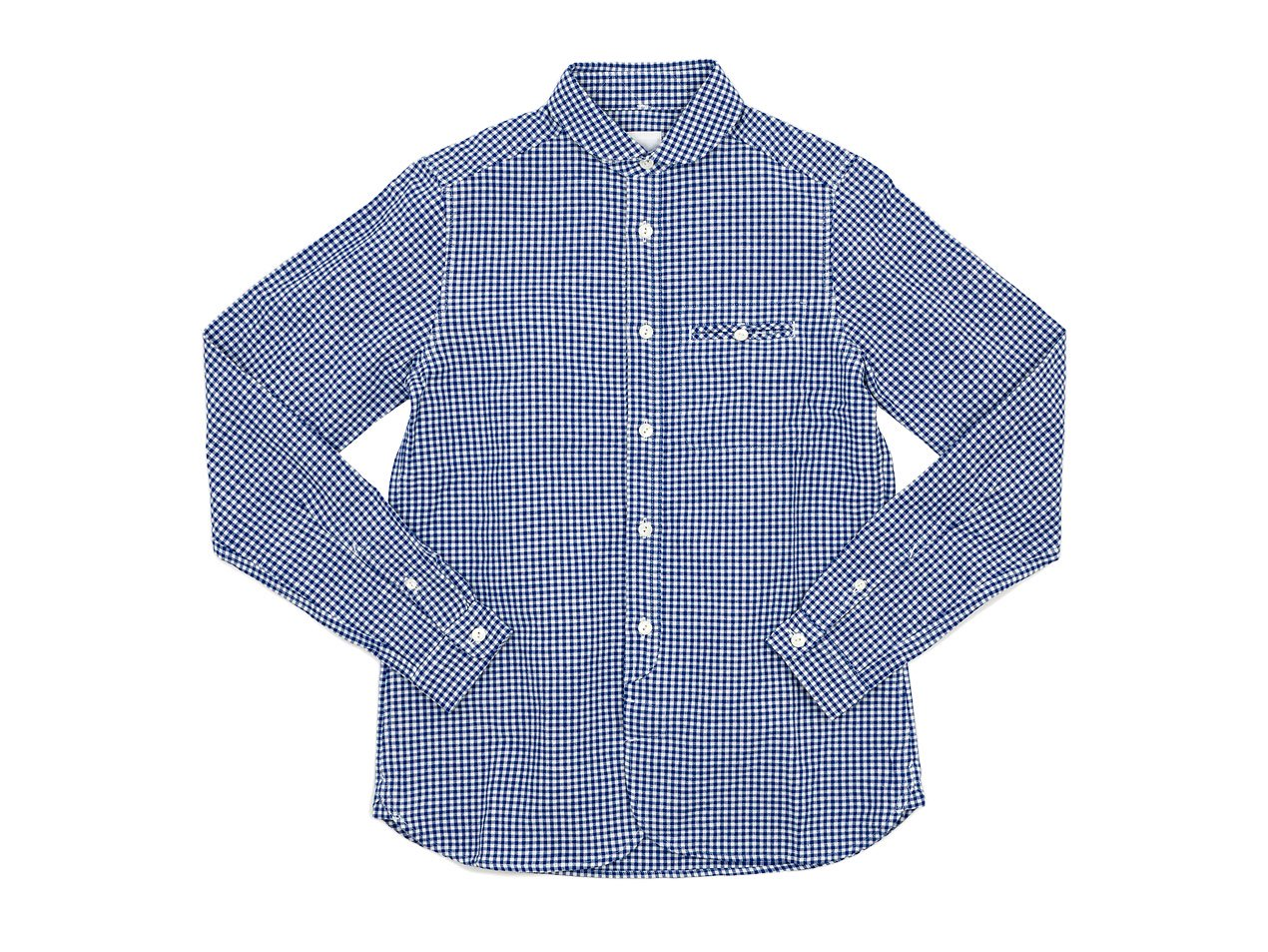 maillot sunset gingham round work shirts BLUE x WHITE