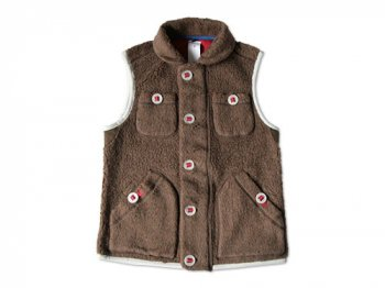maillot angola pile fleece vest BROWN
