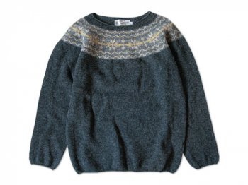NOR' EASTERLY WIDE NECK NORDIC SWEATER OXFORD