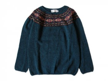 NOR' EASTERLY WIDE NECK NORDIC SWEATER PETREL