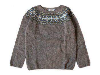 NOR' EASTERLY WIDE NECK NORDIC SWEATER NUTMEG
