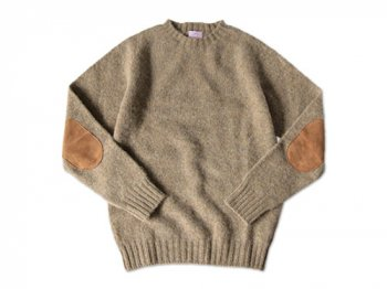 BRICK CREW NECK KNIT パッチ付き STRAW