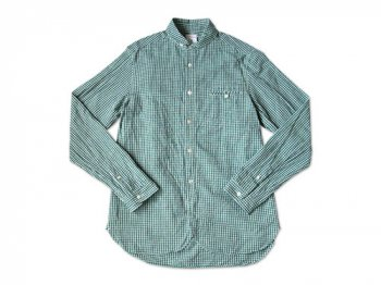 maillot sunset gingham round work shirts GREEN x BLUE
