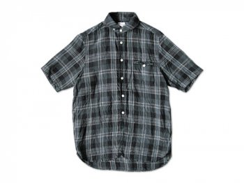 maillot sunset linencheck round work s/s shirts CHARCOAL