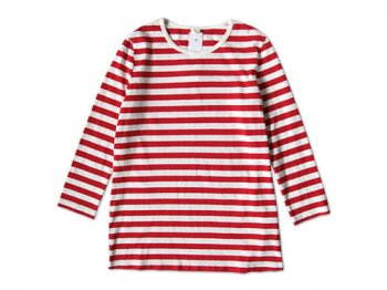 maillot ボーダー7分袖Tシャツ RED